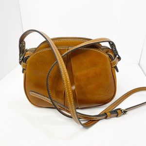 Patricia Nash Cognac Brown Tan Top Zip Crossbody